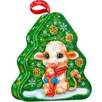 Подарок на новый год жестяной с конфетами Ёлочка 1000гр